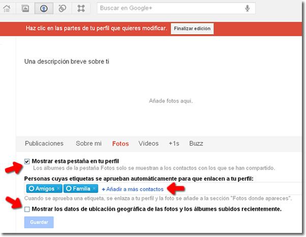 Configurar privacidad fotos Google+