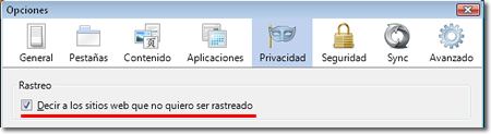 Sin rastreo de Firefox