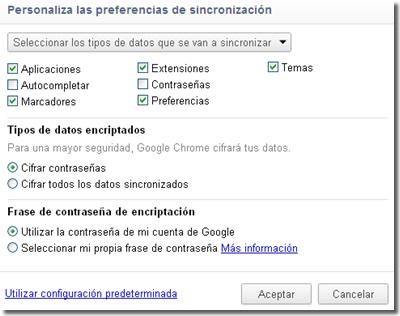 Sincroniza marcadores en Chrome