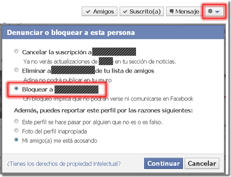 Bloquear amigo en Facebook
