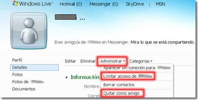 Bloquear amigo en Messenger
