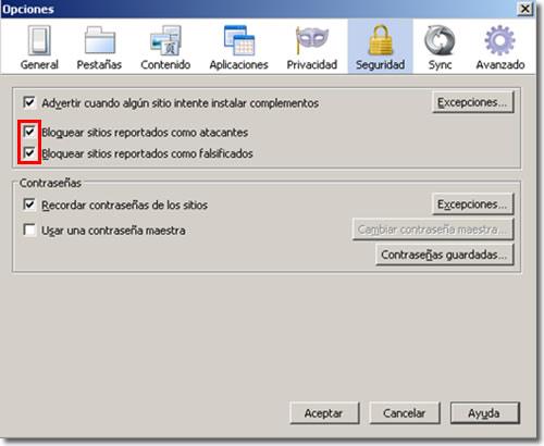 Anti phishing en Firefox