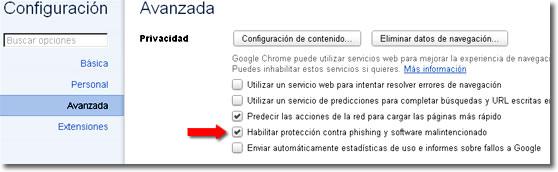 Anti phishing en Chrome
