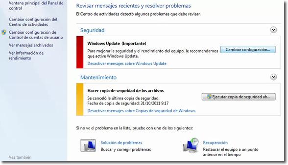 Centro de actividades de Windows 7
