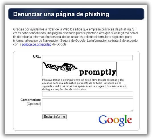 Denuncia el phishing