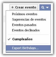 Exporta cumpleaños desde Facebook
