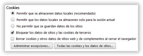 Elimina cookies periódicamente