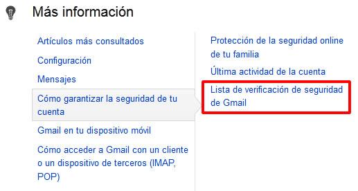 Lista de verificación de seguridad de Gmail