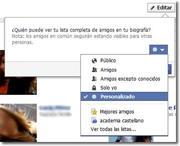 Ocultar un amigo en Facebook