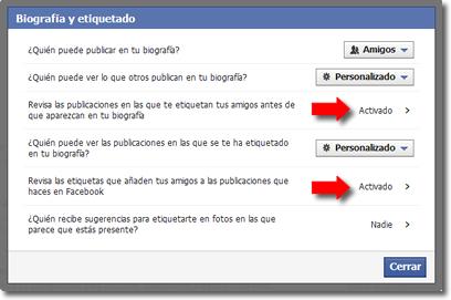 Etiquetas sin permiso en facebook