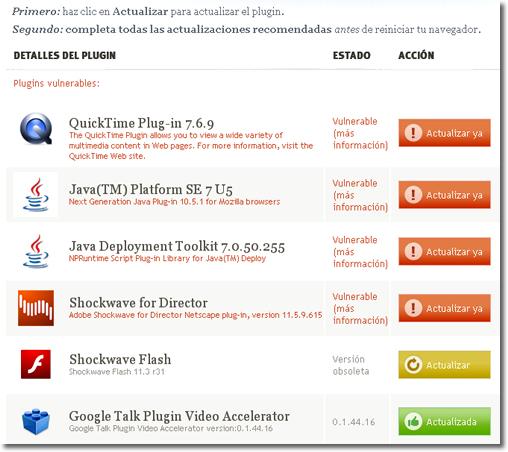 Comprueba y actualiza los pugins de tu navegador