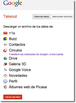 Takeout de Google