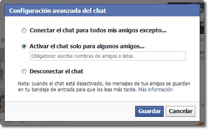 configuración avanzada en el chat de Facebook