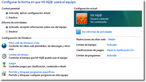 Control parental en Windows