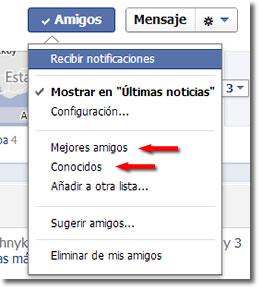 Amigos y conocidos en Facebook
