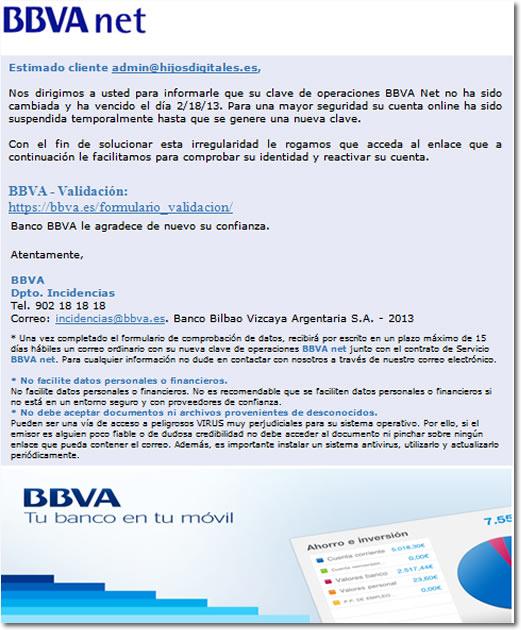 phishing BBVA y cómo reaccionó mi navegador