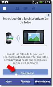 Facebook, smartphones y Photo Sync