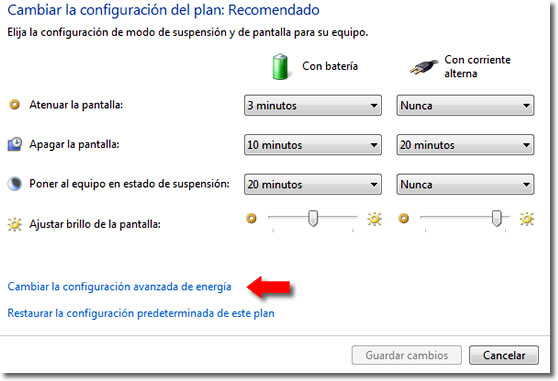Configurar apagado en Windows