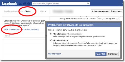 Mensajes privados de desconocidos en Facebook