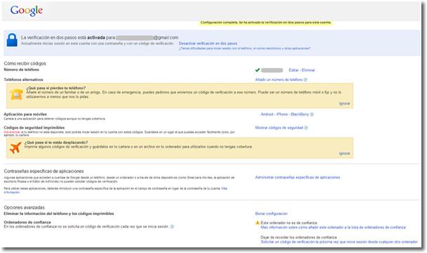 Google account y la verificación en dos pasos