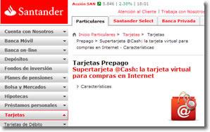 Tarjeta online Banco Santanter