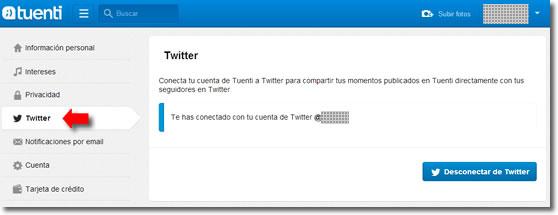 Conexión entre Tuenti y Twitter