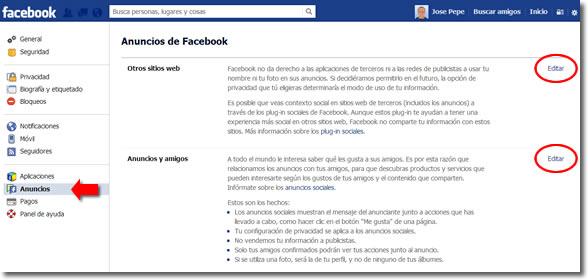 La configuración de los anuncios en Facebook
