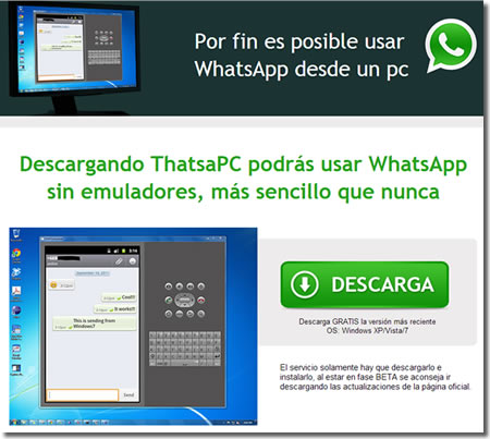 El timo del WhatsApp para PC en Facebook