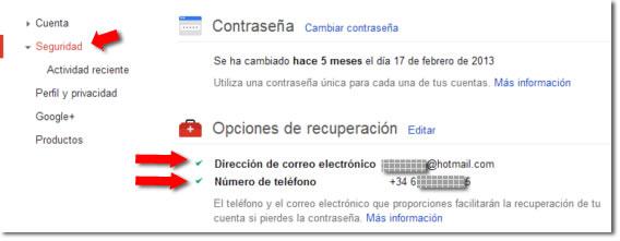 Opciones de recuperación de Google