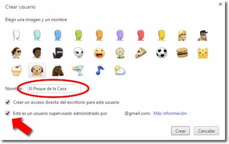 Chrome permite crear usuarios supervisados para niños