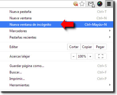 Chrome. Navegación privada