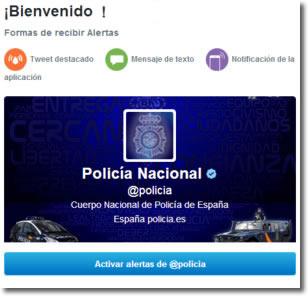 alertas de Twitter y la @policia