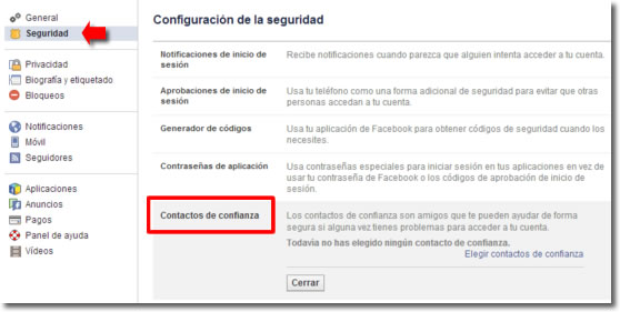 Configura los contactos de confianza de Facebook