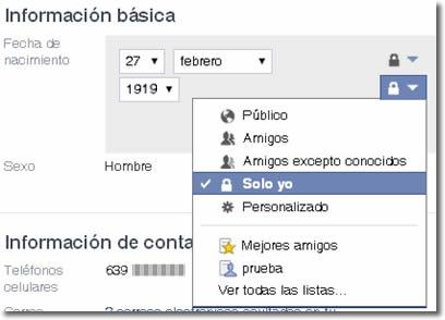 Ocultar la edad en los cumpleaños de Facebook