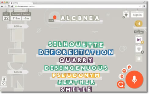 Spell Up, juego en Chrome de inglés