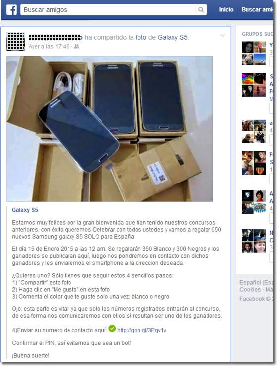 Bulo y timo en Facebook, el regalo de 650 Galaxy S5