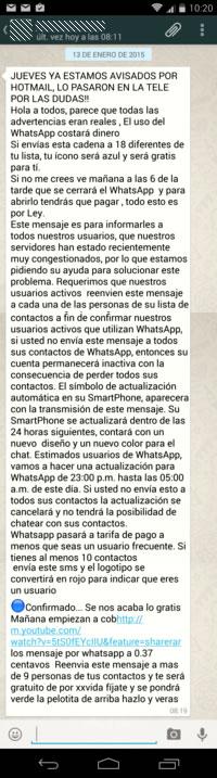 Whatsapp será gratis para quien reenvíe este mensaje