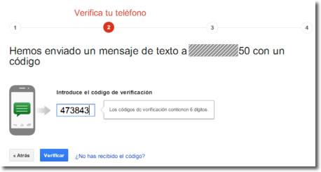 La verificación en dos pasos de Google