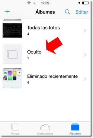 Sobre ocultar fotos y vídeos en iPhone