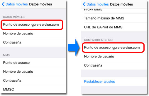 Compartir internet en iPhone iPad