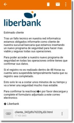 Correo electrónico haciéndose pasar por Liberbank