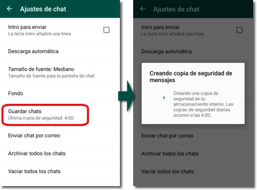 Transferir las conversaciones de whatsapp entre teléfonos Android
