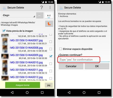 Cómo borrar definitivamente archivos en Android