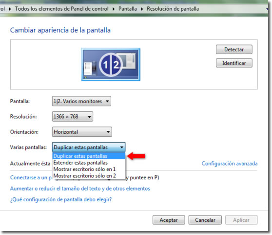 Extender el escritorio del PC a otra pantalla en Windows