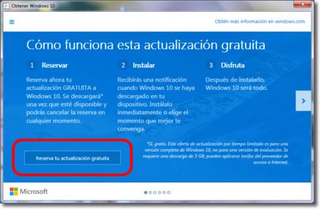 Windows nos propone reservar ya la nueva versión Windows 10