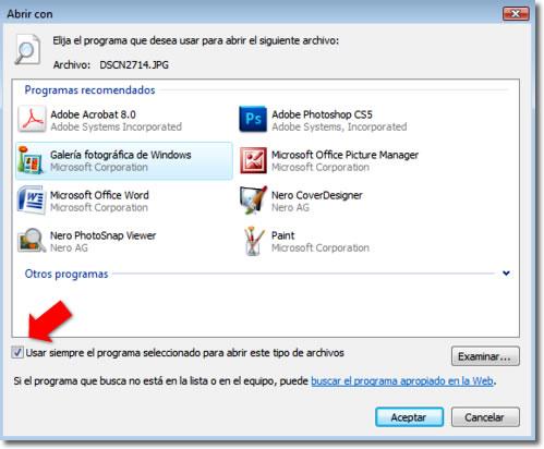 Elegir un programa predeterminado para abrir archivos en Windows