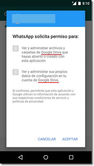 Las copias de seguridad de Whatsapp ahora también en Google Drive