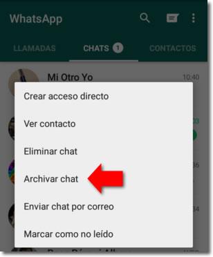 Cómo ocultar chats en Whatsapp