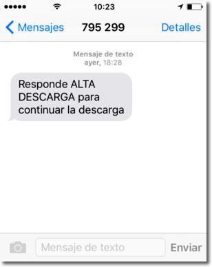 Timo SMS Premium: Responde ALTA DESCARGA para continuar la descarga