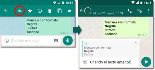 Negrita, cursiva y tachado cuando escribimos en Whatsapp